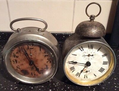 2 old vintage/ antique alarm clocks - one JAZ, one Wurttemberg - spares/ repairs