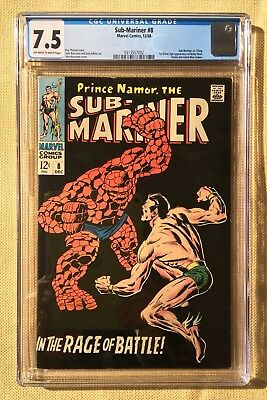 Sub-Mariner #8 (1968, Marvel) CGC 7.5 OWW Submarine vs Thing Battle Key NR .95$