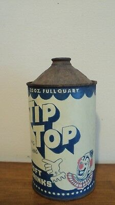 Antique Ca.1954 TIP TOP Cone Top soft drink can 32oz  advertising sign   w/CLOWN