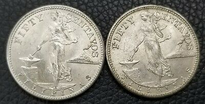 1944 50 Centavos Philippines .750 Silver Coin High Grade - Lot of 2 - [AK3964]