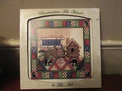 "Vintage Decorative Laurie Korogadene Tile Trivet ""Cabin Fever"" country cottage"