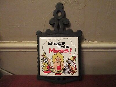 Vintage bless this mess tile trivet hot plate cast iron humorous kitchen decor