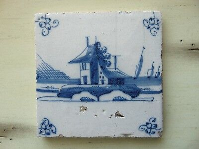 ANTIQUE DUTCH DELFT BLUE TILE/House/Spider Head Corners/Made in Holland