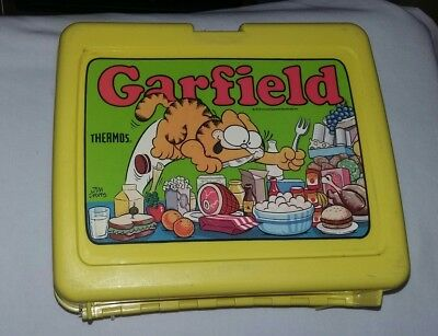 Vintage Yellow Thermos Garfield Lunch Box With Thermos 1978 Jim Davis