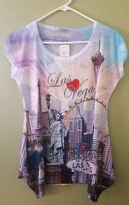 Las Vegas Womens Rhinestone Scoop Neck Angle Cut Sides Size Large Tunic T-Shirt