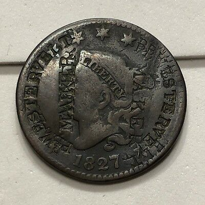 """1827 U.S. Coronet Head Large Cent (COUNTERSTAMPED """"MARKER"""")"""