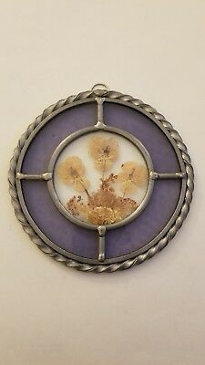 Purple Stained Glass & Pressed Flowers Hanging Sun Catcher Window Hanging