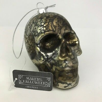 Halloween Ornaments Glass Skull Silver Gray with Black Crackle 3.25in Spooky