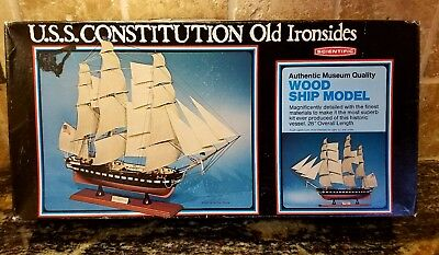 """Scientific Uss Constitution Old Ironsides Wood Ship Model Kit 28"""" Long"""