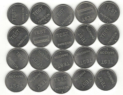 21. LOT OF 17 PARKEON TEST TOKENS NYC PARKING MACHINES & ELSEWHERE 22mm WM