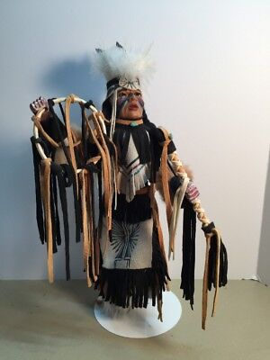 Sandy Type Native American Carved Wood Indian Dancer Doll Mixed Embellished.12""