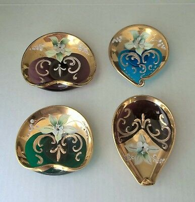 4 BOHEMIAN ART GLASS Pin Dishes TEAL, LAVENDER, GREEN Enameled Flowers,GOLD TRIM