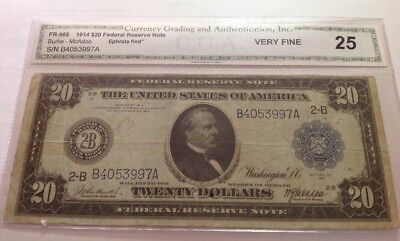 1914 20 Dollar Federal Reserve Note Graded 25