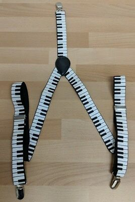 Vintage Clip On musician's Braces 2.5cm Wide Small Adult Teenager piano keys