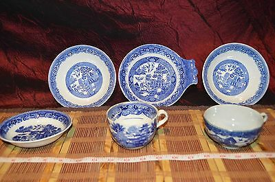 6 Assorted Blue Willow Semi China, North Staffordshire Pottery Bowls and cups