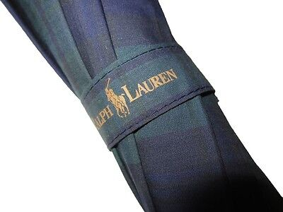 Ralph Lauren Polo Blackwatch Green Blue Plaid Umbrella Wood Handle-RL Accessory!