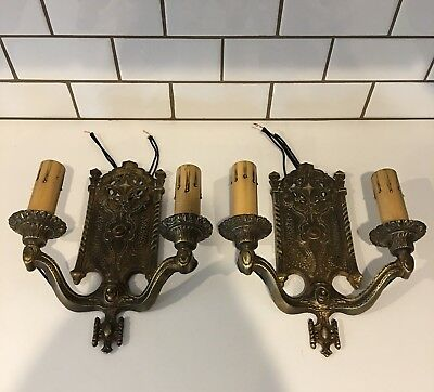 Antique Pair Heavy Brass Spanish Revival Wired Two Arm Fixtures Sconces