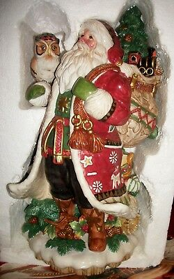 Rare Fitz & Floyd Large Santa Lodge With Owl Centerpiece Excellent Condition