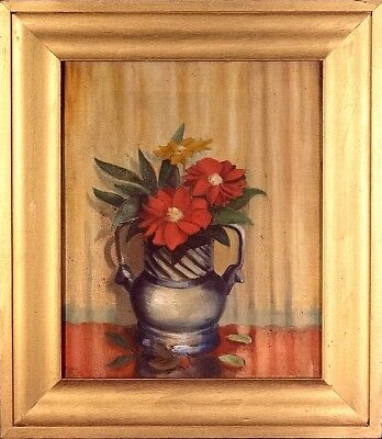 Exquisite ca.1925 Listed Artist Floral Bouquet Painting Oil/Canvas/Frame Signed