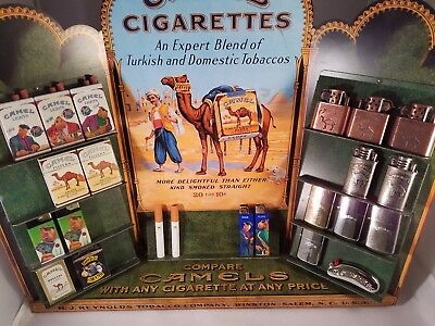 Vintage Camel Cigarette Store Display with Lighters