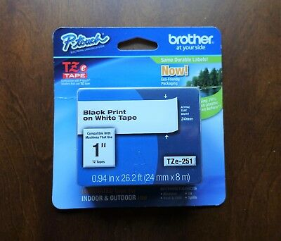 """NEW Genuine Brother P-Touch TZe-251 Black Print on White Tape 1""""(24mm) Laminated"""