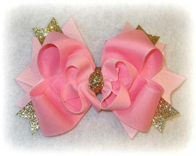 Girls Boutique Hair Bows Pink Gold Glitter Stacked layered Hairbow Baby Headband