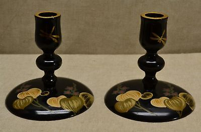 """PR Vintage JAPANESE 4"""" BLACK HAND PAINTED LACQUER WARE CANDLESTICKS"""