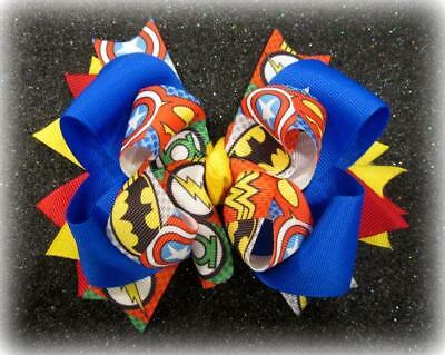 Super Hero Hair Bow Superman Superwomen Hairbow Boutique Stacked Bows Headbands