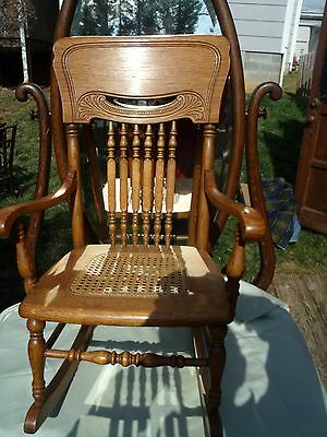Antique Victorian Oak Pressed Back,cain Bottom Child's Rocking Chair