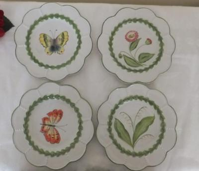 """Lot of Four 8"""" VIETRI SALAD PLATES MADE IN ITALY"""