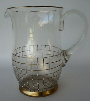 VINTAGE RETRO 60s BOHEMIAN  / ITALIAN GOLD & WHITE DOTS GLASS CORDIAL WATER JUG