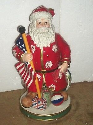 "Fitz & Floyd Patriotic Santa  American Flag Centerpiece Figure W/ Box 16.5"" Mint"