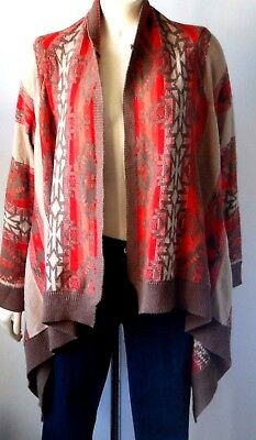 H&M Sweater CardiganOpen Long Sleeve Asym Coral Brown Red Sz S Wool Ac