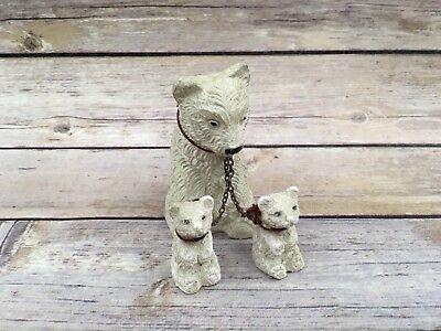 Vintage Plaster Chalk Ceramic Polar Bear Family on Chain Animal Figure