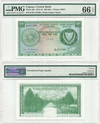 """1976 CYPRUS """"Gem Uncirculated"""" 500 MILS NOTE Professionally Graded PMG 66 E.P.Q"""