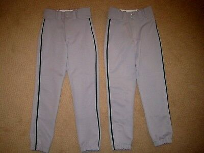 Lot of 2 EASTON Gray BOYS Green Stripe BASEBALL PANTS sz YOUTH SMALL - NEW