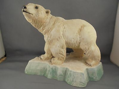 """Henning Norway Hand Carved Wood Large Polar Bear Figure 8 7/8"""" x 7 3/16"""""""