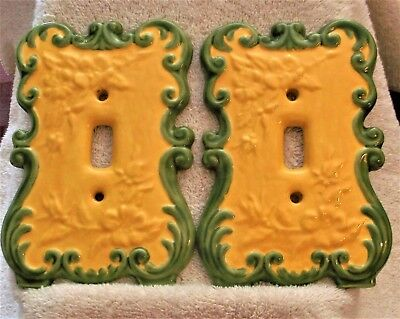 Vintage Ceramic Electric Light Cover Switch Plate Bright yellow and Green set