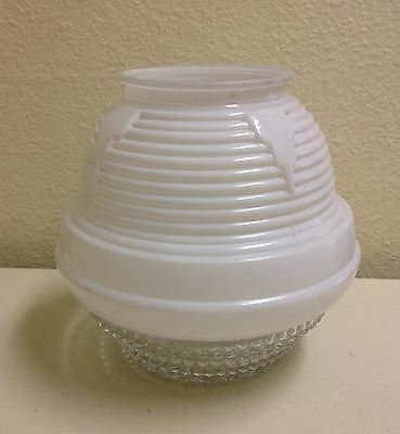 Antique Vintage Art Deco Beehive Ceiling Light - White Glass Clear Shade / Globe