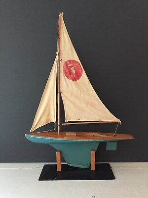 Vintage antique Pond Boat Model Metal Keel w Stand - Seahorse Sails are Rough