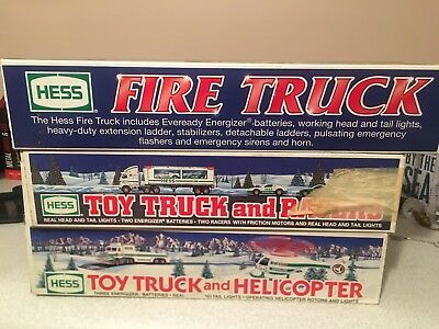 Lot of Three Hess Trucks Racers Helicopter Fire 1995 2000 1997