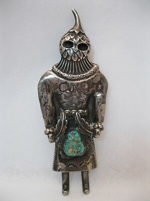 """Lot 92 - GREAT Vintage 3 3/4"""" Tall Silver & Turquoise Kachina Pendant signed HR"""