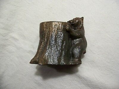 RARE ANTIQUE BRONZE BEAR /TREE TRUNK SCULPTURE by DODGE INC OLD ARTS CRAFTS  !!