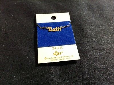 Vtg Name Necklace BETH signed Russ Berrie & Company