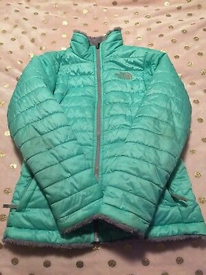 North Face girls reversible Mossbud Coat Size 10/12 Turquoise & Gray