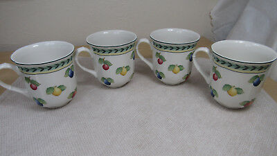 Villeroy & Boch French Garden Fleurence Set Of 4 Cups / Mugs 10 Oz. Germany