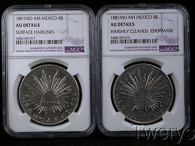 2 Piece Lot 1881Mo Am 1891Mo Mh Mexico City Silver 8 Reales Ngc Au Details