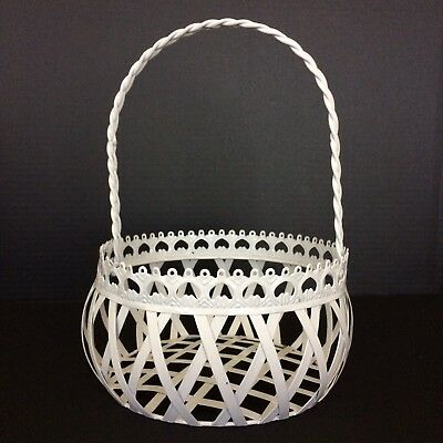 Vintage White Metal Wire Basket with Handle Round Decorative