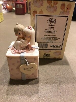 precious moments by Enesco 700118 bless you two wedding couple covered box 1999