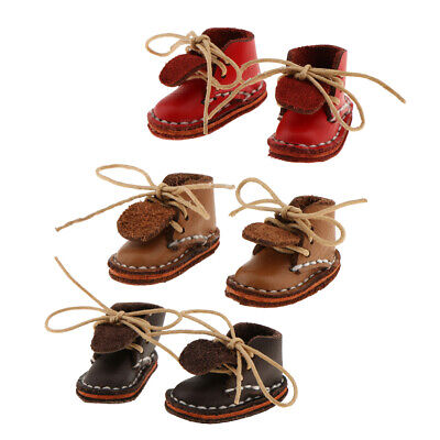 Handmade Fashion Shoes 3 Pairs Lace up Flat Ankle Boots for 1/6 Blythe Doll
